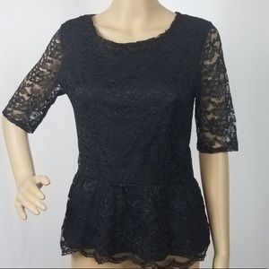 NEW Black Lace Peplum Blouse